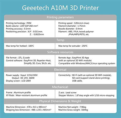GEEETECH A10 3D Printer Aluminum Prusa I3 Half Assembled DIY Kit with Print  Size 220×220×260mm,OPEN SOURCE GT2560 control board