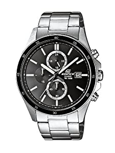 Reloj Casio EDIFICE de caballero de cuarzo con correa de acero inoxidable plateada (cronómetro) - sumergible a 100 metros de Casio