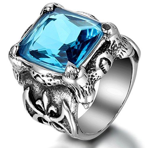 JewelryWe Schmuck Herren-Ring, Edelstahl Glas, Gotik Drachen Klaue Fleur de Lis, Blau Silber,...