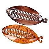 F Fityle 2 Pinces à Cheveux Poisson Fishtail Clip Coiffure Banane Forme Cheveux Accessoires Brun Café