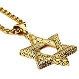 Para hombre 18Kgold chapado judaísmo judío Jew Star Charm Colgante de acero de titanio con cadena de 70cm collar de HIP HOP