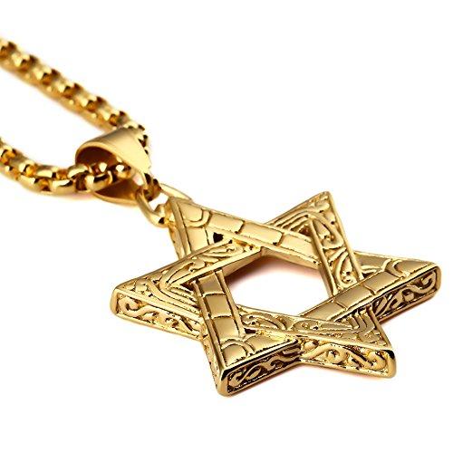 MCSAYS 18K Gold überzog Judentum Jüdische Jude-Stern-Charme Titan Stahl Anhänger mit 70cm Ketten Halskette Hip Hop Herren