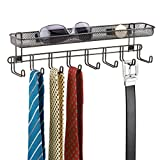 mDesign Coat Rack with Shelf for Storage - 8 Coat Hooks for use as a Jewellery Tree, Tie Rack or Belt Holder - Integrated Storage Basket for Wallet, Keys & More - Bronze