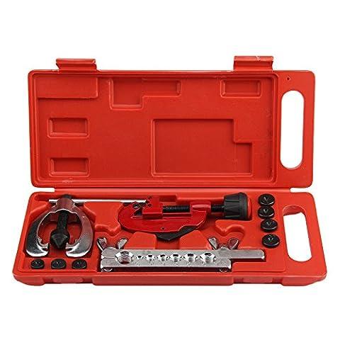 MultiWare 10 Pcs Metric Pipe Flaring Kit Brake Fuel Pipe Repair Flaring Tool Set Tube Cutter