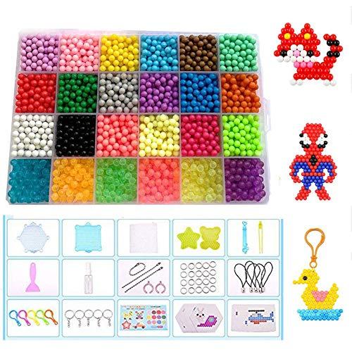 Queta Wasser Perlen Set, 24 Farben Aqua Wasser Sticky Perlen Spielzeug Nachfüllset für Kinder Perlen Set für Kinder DIY Crafting Zubehör für Kinder, 3200 Perlen