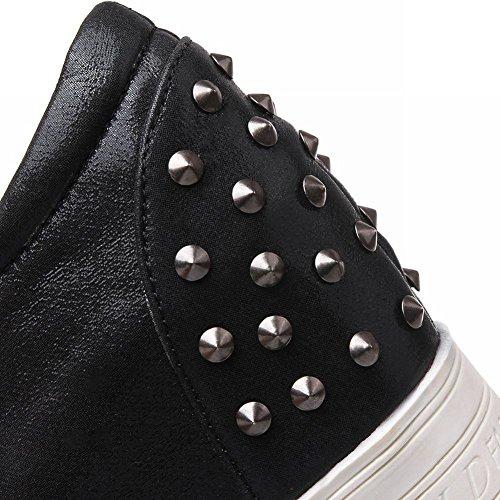 Mee Shoes Damen modern bequem populär invisible Heel mit Niete Gummiband Geschlossen Durchgängiges Plateau Pumps Schwarz