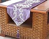Tischfahne Lila Im Europäischen Stil, Rechteckige Moderne Samt Tabelle Runnerfür Couchtisch Und Hochzeit Mehrfarbige Stickerei Floral Designmit Quaste, 33 X 160 cm
