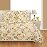 Yuga accoglienza Beige Decorazione Bed Sheet Set stampato biancheria Re. Regina, Opzioni letti copripiumino, 100% cotone, beige, 1 drap de lit King Size + 2 housses d'oreiller
