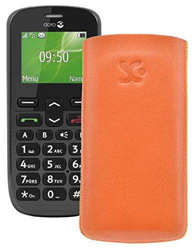 Original Suncase Tasche für / Doro PhoneEasy 508 / Leder Etui Handytasche Ledertasche Schutzhülle Case Hülle *Lasche mit Rückzugfunktion* orange