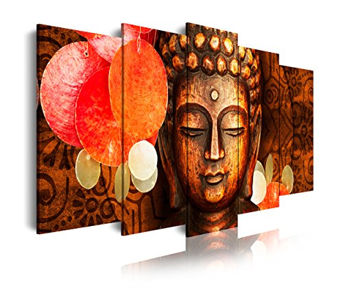 DEKOARTE 407 - Cuadro moderno en lienzo 5 piezas buda feng shui con decoración zen, 150x3x80cm