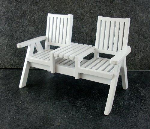 Puppenhaus Miniatur Gartenmöbel Weißes Holz Rasen Loveseat Zwilling Stuhl