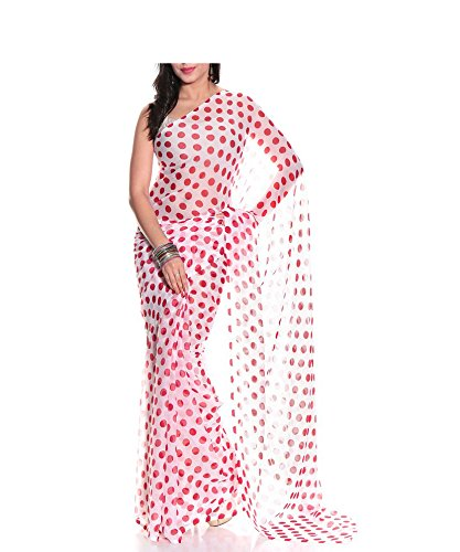 Memsahiba Women Chiffon Polka Dot Printed Saree Red