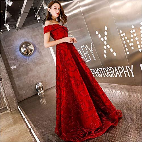 BINGQZ Damen/Elegant Kleid/Cocktailkleider Abendkleid Stil Boot-Ausschnitt Lange formelle Kleidung Abendgesellschaft Kleider lace-up zurück Abendkleid ys454 - Offene U-boot-ausschnitt