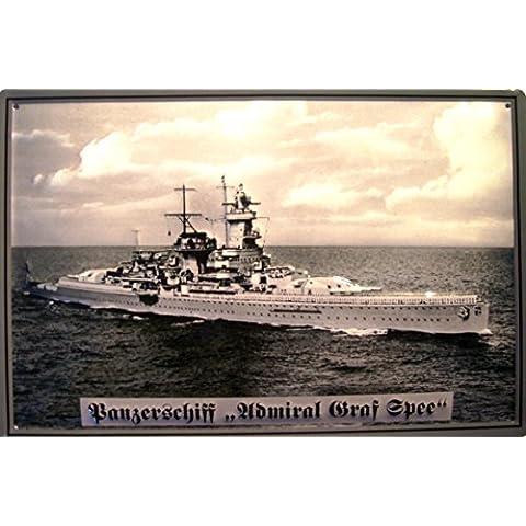 Carro armato nave Admiral Graf von Spee Targa latta metallo Tin Sign scudo 20 x 30 cm - Nave Tin