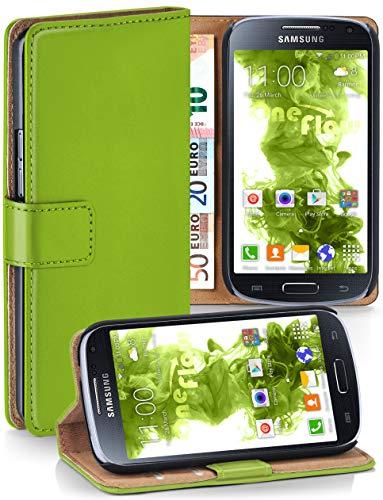 moex® Booklet mit Flip Funktion [360 Grad Voll-Schutz] für Samsung Galaxy S4 Mini   Geldfach und Kartenfach + Stand-Funktion und Magnet-Verschluss, Grün