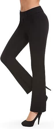 Bamans Pantaloni Eleganti Push Up Donna, Bootcut Elastica Pantaloni a Vita Alta Lungo Straight Pantaloni per Yoga, Ufficio, Casual