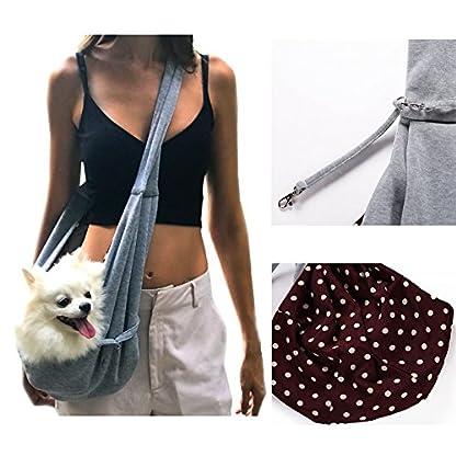 Buyger Reversible Pet Sling Carrier Hand free Puppy Cat Carrier Single Shoulder Bag (Grey) 3
