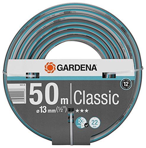 """GARDENA Classic Schlauch 13 mm (1/2\""""), 50 m: Universeller Gartenschlauch aus robustem Kreuzgewebe, 22 bar Berstdruck, druck- und UV-beständig (18010-20)"""