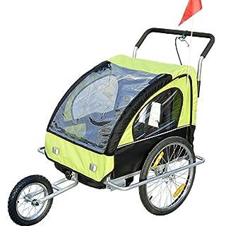 2in1 Jogger Kinderanhänger Fahrradanhänger Kinder Radanhänger 5 Farben zur Auswahl Neu (Grün-schwarz)