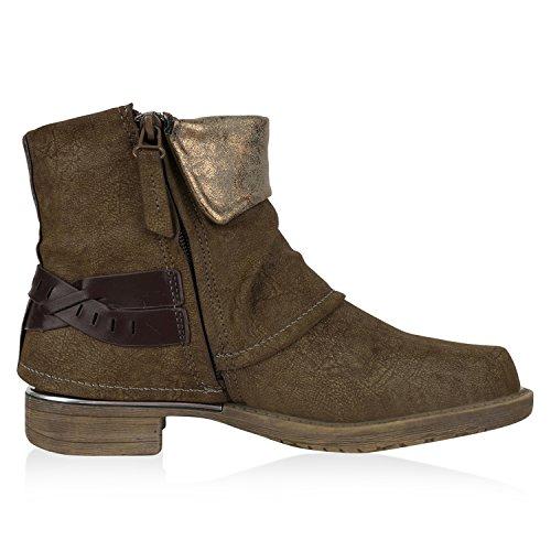Damen Boots Khaki Stiefeletten Lederoptik Biker Braun Nieten Schnallen q7wq1Orx