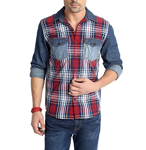 RODID Men's Denim Checkered Casual Shirt MultiColour_RD13A0BC-S