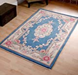 Tapis chinois en laine Bleu fait main Motif traditionnel Aubusson 60 x 120 cm...