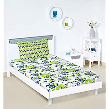Amazon Brand - Solimo Floral Breeze 144 TC 100% Cotton Single Bedsheet with 1 Pillow Cover, Green