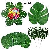 BigLion Foglie Palma Tropicale e Fiori di Ibisco Forniture,Foglie Tropicali Piante Artificiali Palma Tropicale Artificiale Monstera Fiori Hawaiano Luau Jungle Festa Decorazione Partito Tropicale,60pcs