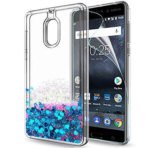 LeYi Hülle Nokia 6 Glitzer Handyhülle mit HD Folie Schutzfolie,Cover TPU Bumper Silikon Flüssigkeit Treibsand Clear Schutzhülle für Case Nokia 6 Handy Hüllen ZX Blue