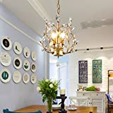 Garwarm Kronleuchter mit Kristallen, LED Deckenleuchte, für Wohnzimmer Schlafzimmer Restaurant, Veranda, schwarz Antik 3head Gold