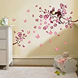 Walplus Wall Stickers Pink 3D Butterfly Flower Removable Self-Adhesive Mural Art Decals Vinyl Home Decoration DIY Living Bedroom Décor Wallpaper Kids Room Gift