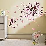 Walplus - Adesivi 3D Grandi per cameretta dei Bambini, Farfalle e Fiori, per Decorazione murale, Rosa
