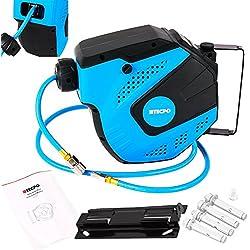 TecPo Druckluftschlauch Aufroller 10m + 1.5m Kfz Werkzeug Schlauch Trommel Werkzeug Druckluftschlauchtrommel Schlauchaufroller max. 20 Bar
