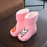 ZWXDMY Wellies,Wellington Baby Baby Winter Plus Anti-Skid pink velvet cute rabbit cotton boots, easy to clean Waterproof, Indoor Outdoor Shoes Casual