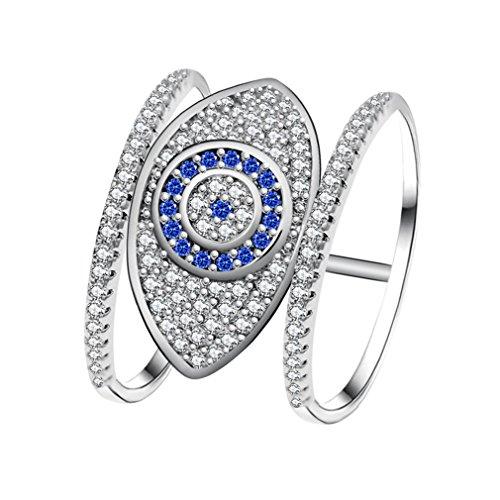 Uloveido Platin plattiert Blue Evil Eye Ring Pave mit winzigen CZ-Steinen, einzigartiger interessanter Schmuck, Geschenkideen für Mutter Frauen Y325 Größe 54 (17.2)