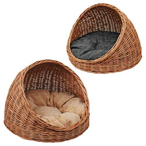 2-9-5 GalaDis Katzenhöhle aus Weide mit Wendekissen / Katzenkorb / Katzenbett, sowohl für Katzen als auch kleine Hunde