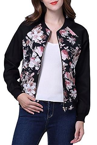 Femmes Manches longues Floral imprimé Bomber Jacket Coat Noir S