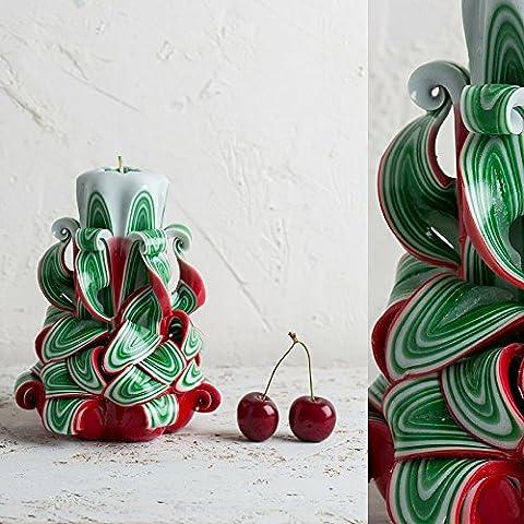 Klein, Rot, Grün und Weiß - Weihnachtsbaum-Farben - dekorativ geschnitzte Kerze - EveCandles