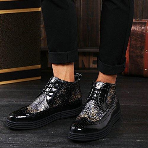 Xianshu Brogue Cheville Bottes Appartement Schnüren Chaussures jaune unique