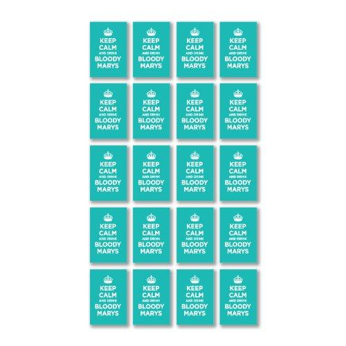 Preisvergleich Produktbild Glänzendes Vinyl Aufkleber Pack: Keep Calm and Drink Bloody Marys türkis bläuliches grün WW2WWII Parody Sign (20Aufkleber, 4,5x 3cm/4,6x 3cm)