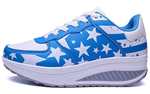 NEWZCERS ragazze delle donne in esecuzione formatori palestra fitness sport scarpe da trekking formatori moda cuneo scarpe sportive da jogging Blau