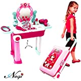 Negi 2 in 1 Trolley Case Beauty Set for Girls, Makeup Tool Sets Pretend Play Workbench Playset Educational Toy for Kids(Trolley Case Beauty Set)