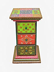 Crafticia Ethnic Wooden Side Corner Drawer of 3 Antique Craft Rajasthani Pink City Jaipur Unique Traditional Wooden Decorative Gift Item Home / Table / Wall Decor Showpiece / Figurine