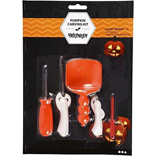 Halloween 6-teiliges Kürbis-Schnitzset incl. Anleitung und 7 - Für Kürbis-gesicht Einen Schnitzen Halloween