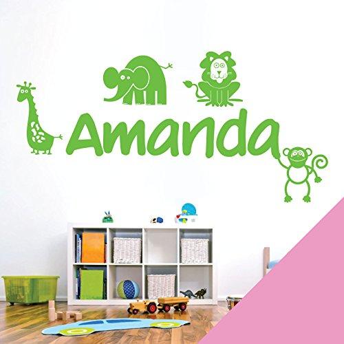 personalisiert Name Kinder Art Wand Aufkleber-Zoo, Giraffe, Affe, Löwe, Elefant-[nur Nachricht uns mit der Name.], Pink, Medium (580 x 290mm)