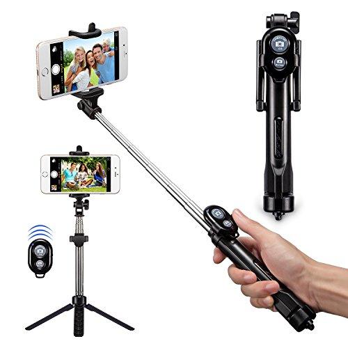 Bluetooth Selfie Stick, Alfort Multifunktionaler Selfie Stangen Erweiterbar Ausfahrbar Stab mit Stativ und Bluetooth Fernbedienung für iPhone 7 / 6S / 6 Plus / SE / 5S / 5C / 5, Samsung Galaxy S7 / S7 Edge, LG G6, HTC M9 M8, Sony Z5 Z4 Z3 Compact, Android und andere Smartphones (Schwarz)