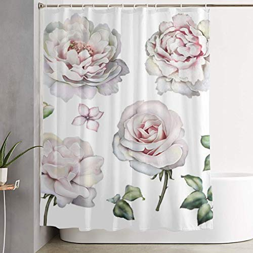 Shower Curtain Waterproof Washable Bath Curtain,Set Watercolor Elements of Roses Peonies Collection Garden Pink Flowers Leaves Branches Botanic,for Bathroom with 12 Hooks -