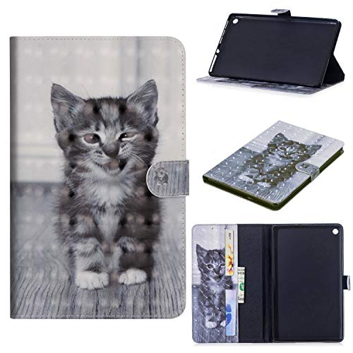 iaPad M3 Lite 10 (10.1-Zoll)-Tablet Hülle, Slim Lightweight Schutzhülle 3D PU Leder Shell Cover Tasche Etui Smiley Katze Design Flip Case mit Auto Sleep/Wake up Funktion Ständer ()