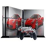 Rotes Auto, Designfolie Sticker Skin Aufkleber Schutzfolie mit Farbenfrohem Design für Playstation 4 CUH 1000 1100