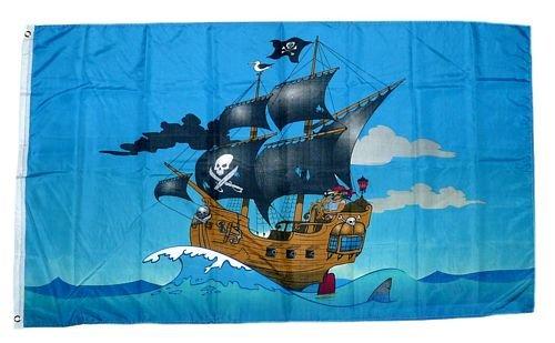 Fahne / Flagge Piratenschiff Pirat 90 x 150 cm